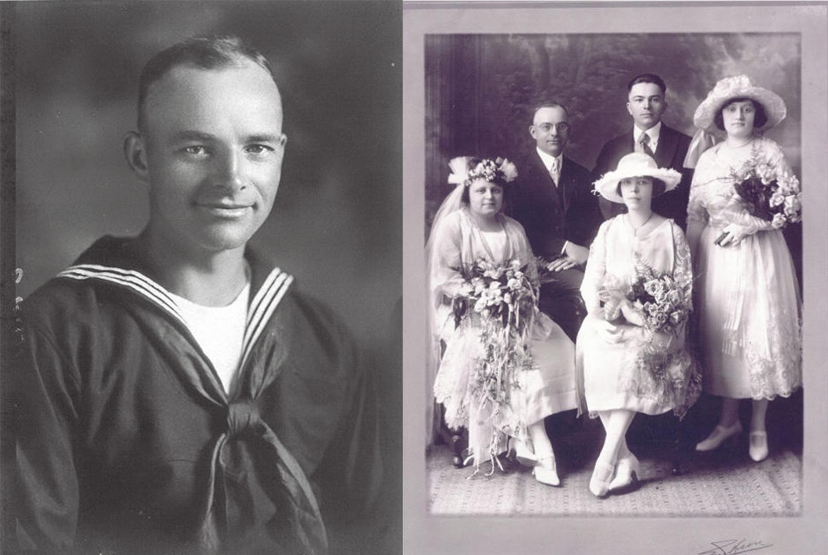 1914 Tim Spaeder's Grandfather on the left and grandparents wedding photo on the right