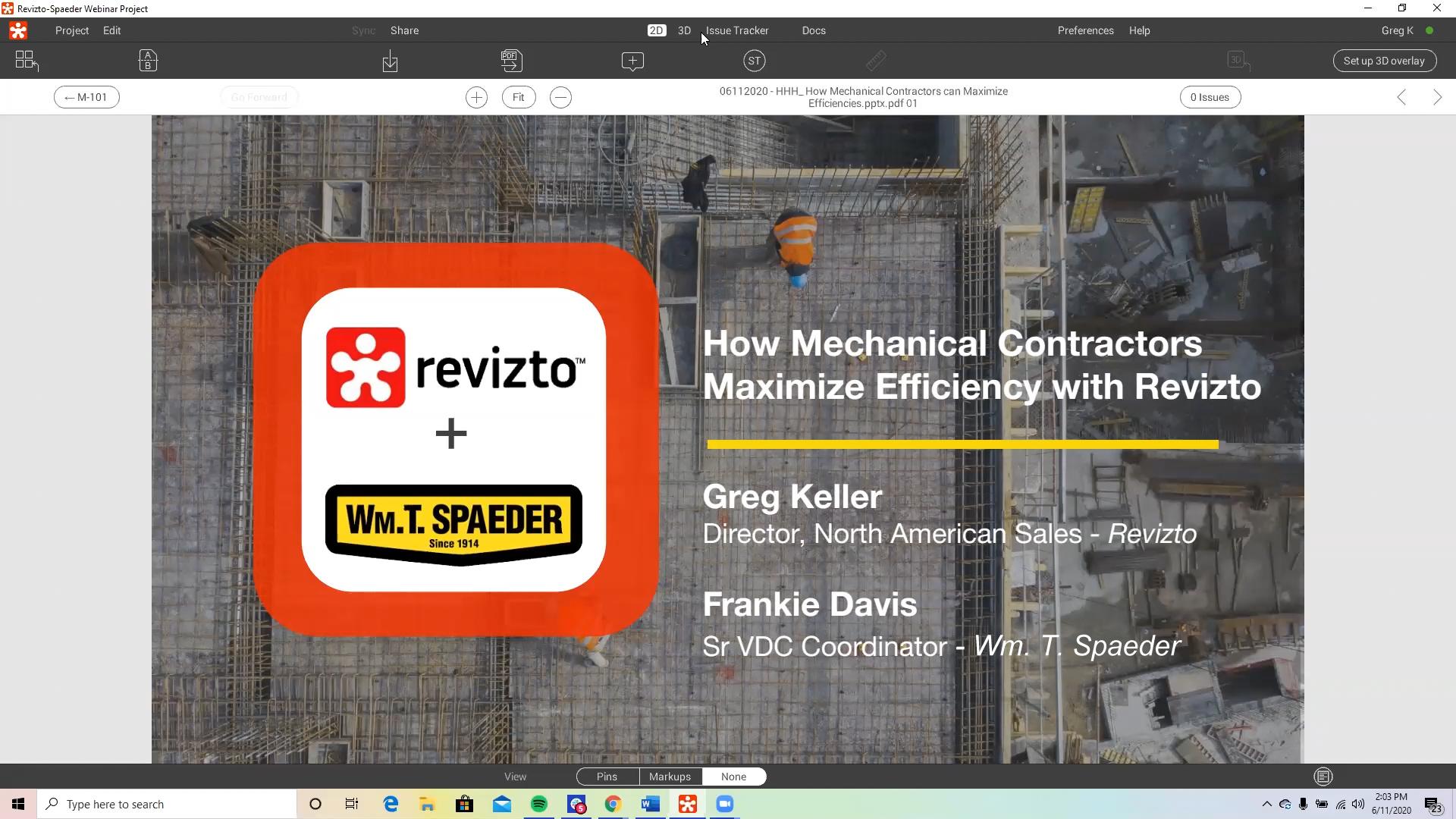Webinar open frame. Revizto and Spaeder logos on construction backdrop.